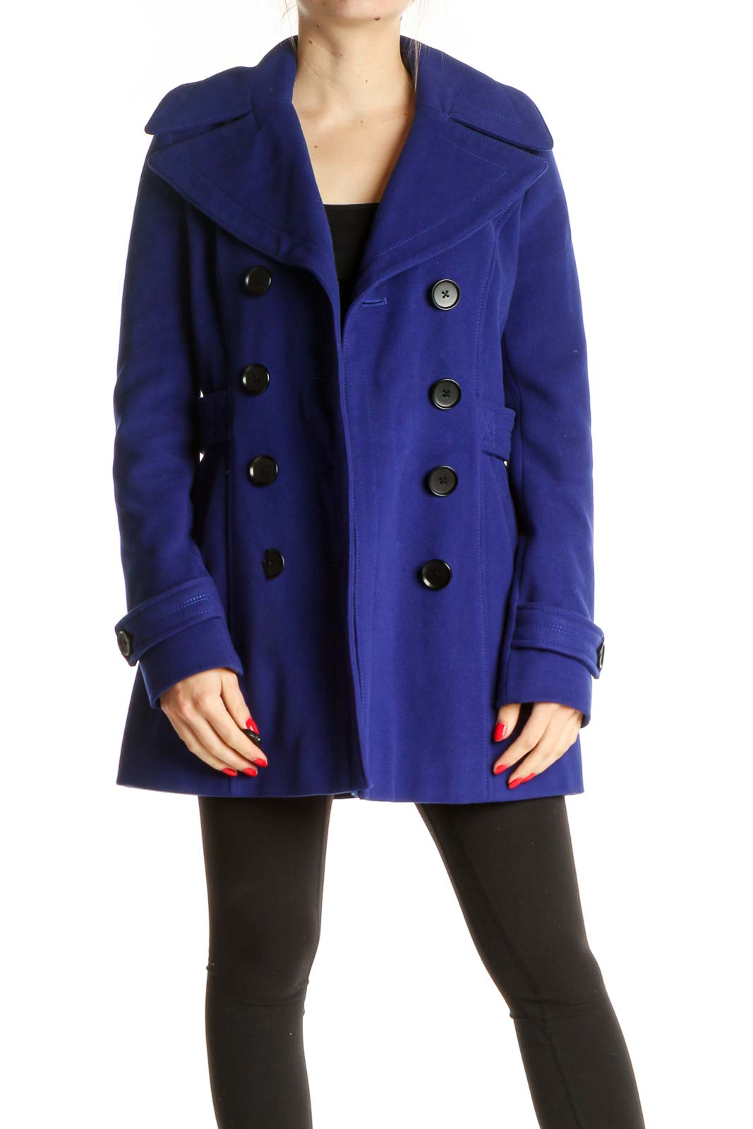 Blue Peacoat Front