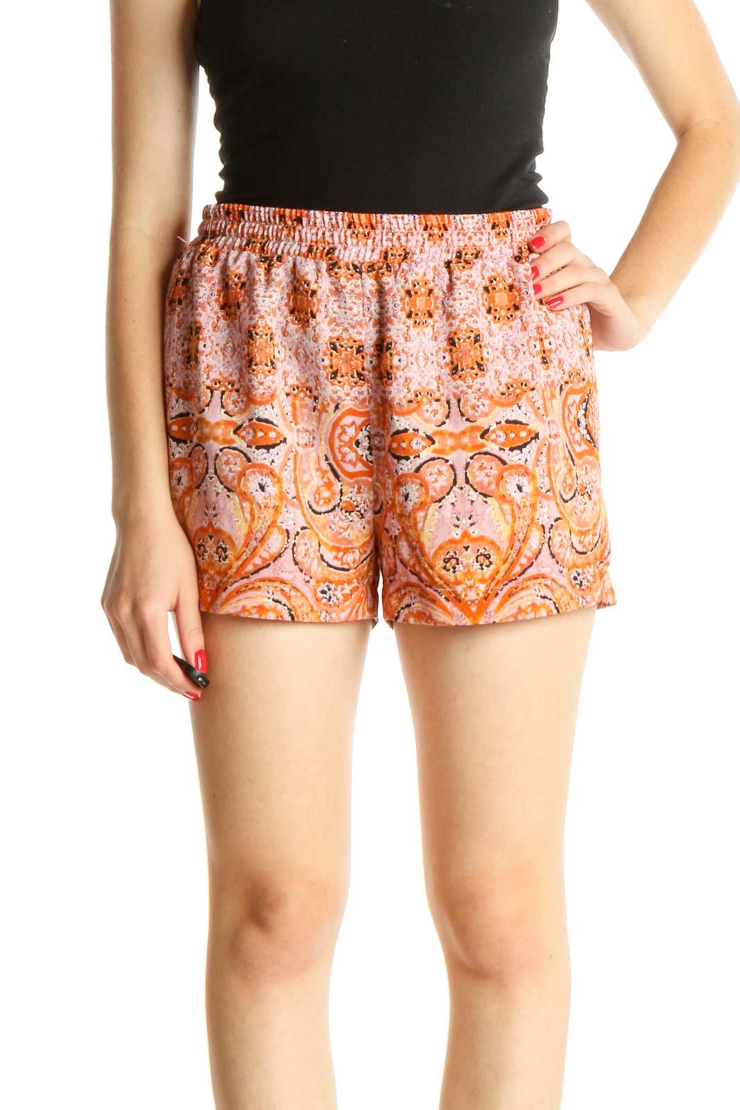Pink Paisley Holiday Shorts Front