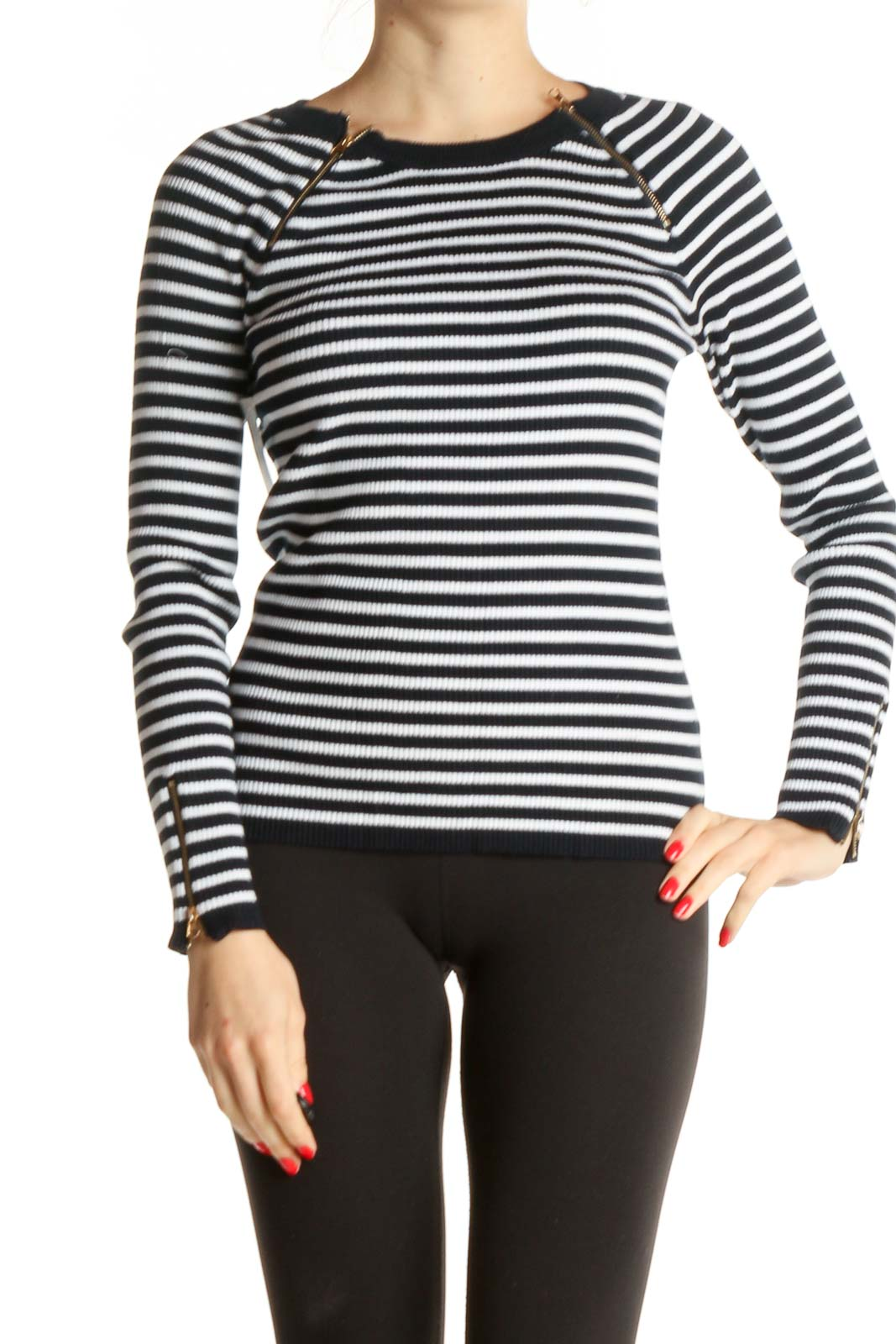 White Striped Casual Top Front