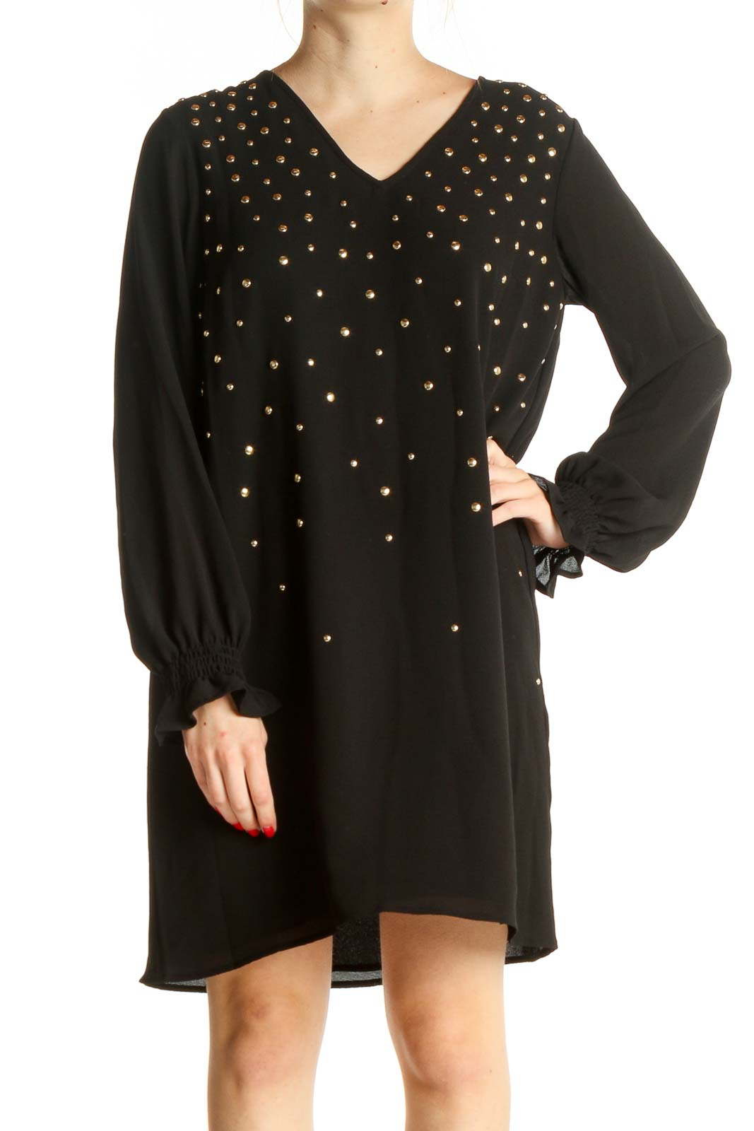 Black Solid Sequin Shift Dress Front