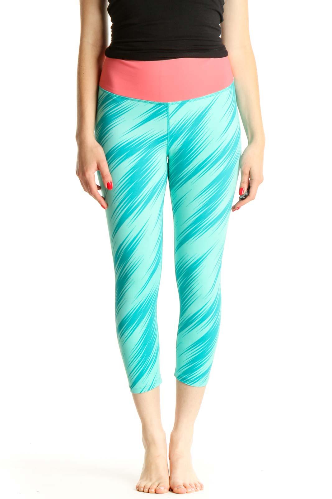 Blue Printed Activewear Leggings Front
