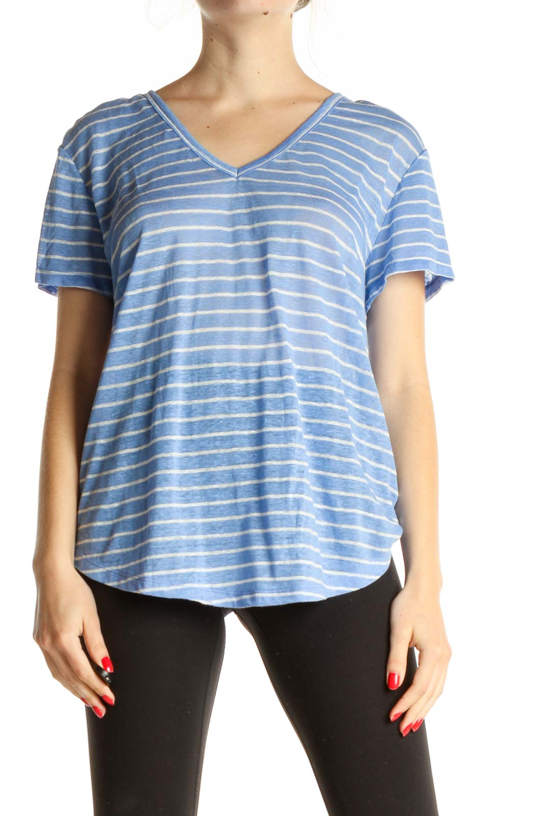 Blue Striped All Day Wear T-Shirt Front