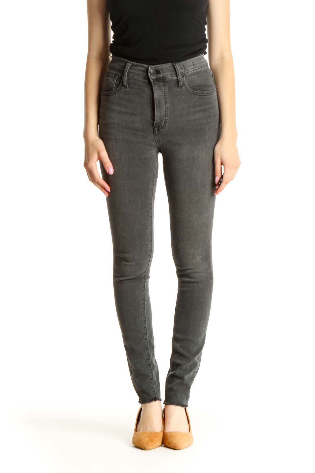 Gray High-Waisted Skinny Jeans Front