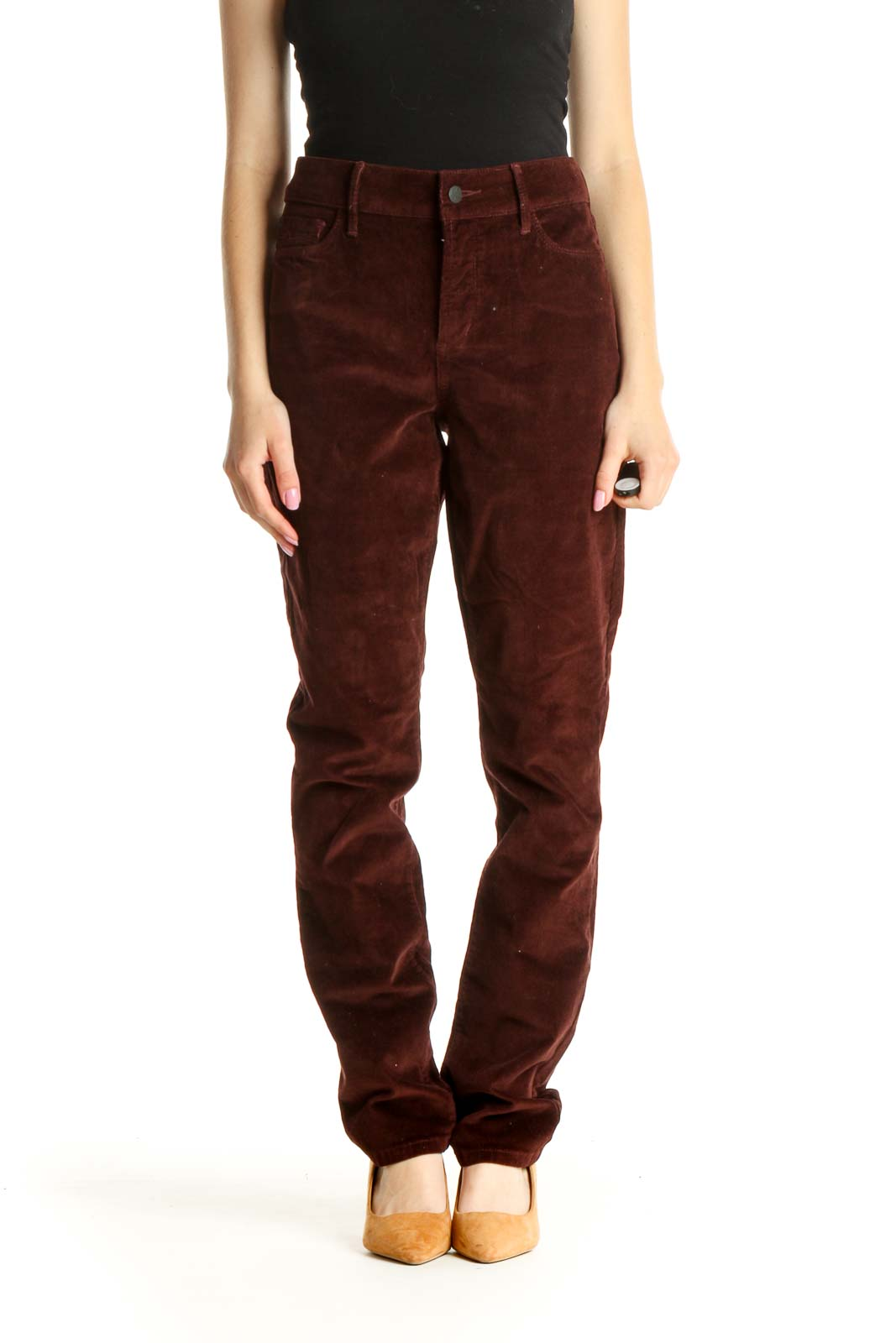 Red High-Waisted Corduroy Straight Leg Jeans Front