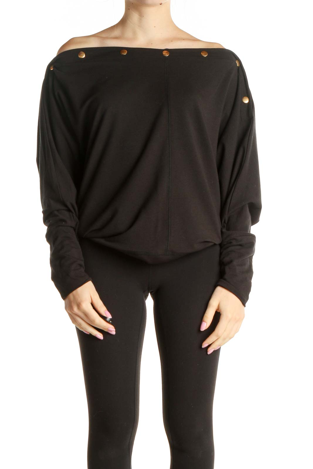Black Solid Chic Shirt Front