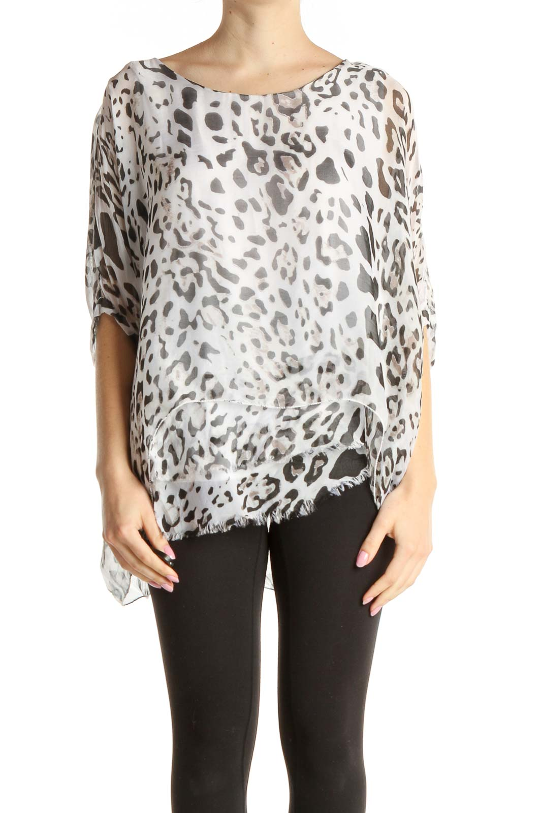 White Animal Print All Day Wear Silk Blouse Front