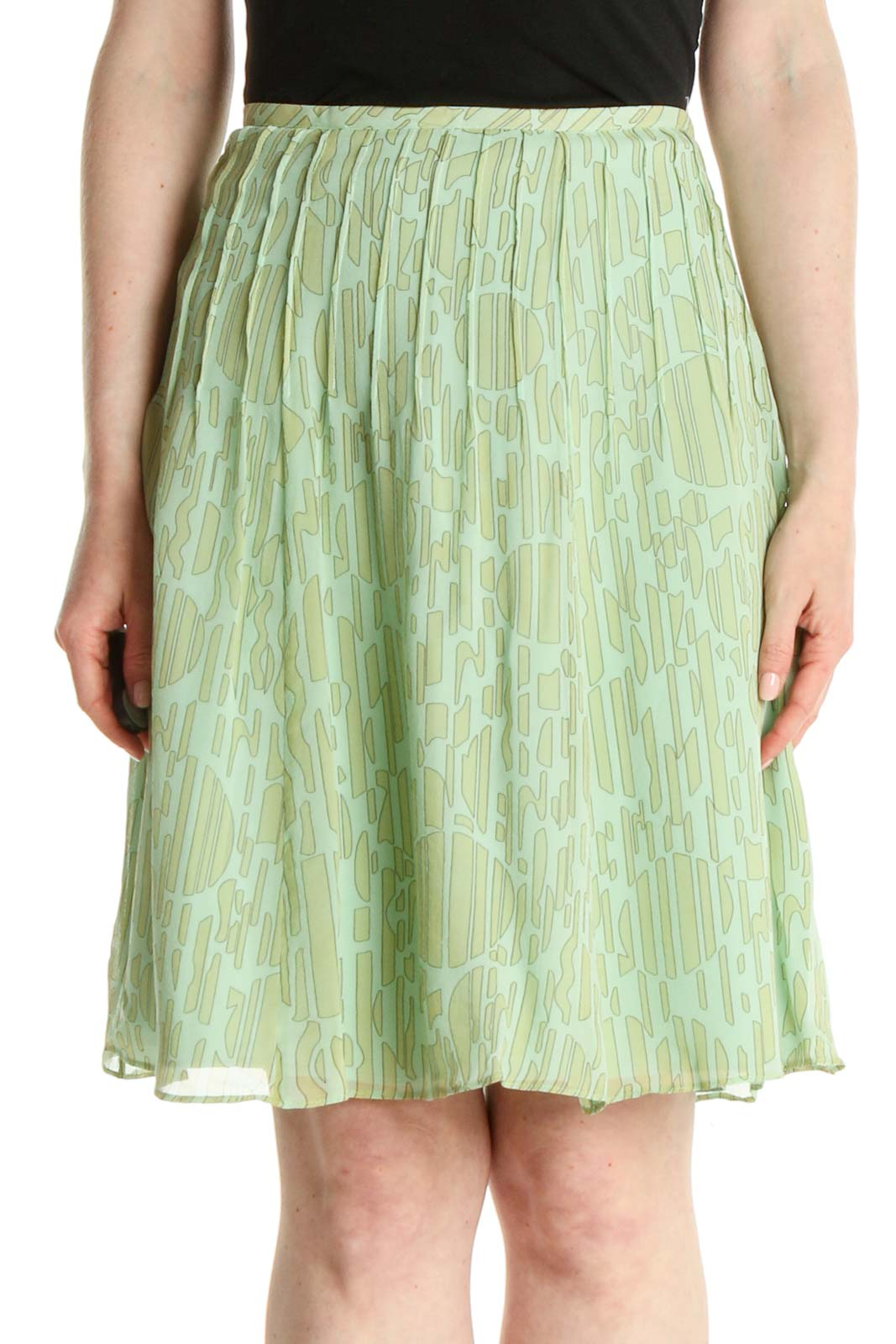 Green Printed All Day Wear Flared Skirt Front