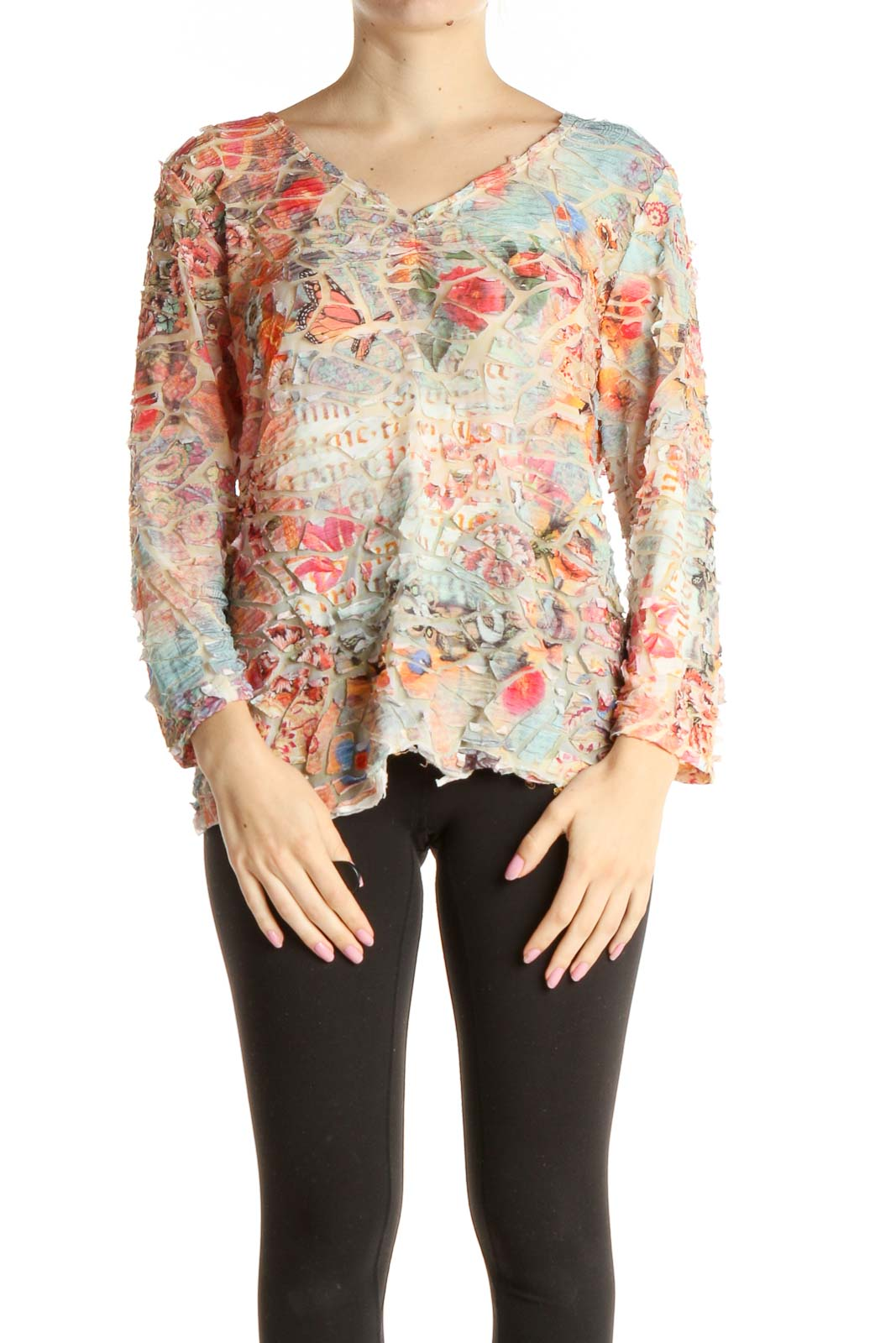 Beige Printed Casual Blouse Front