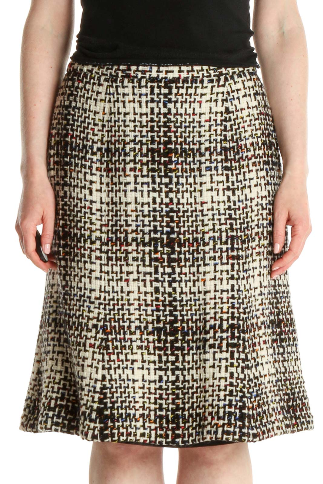 White Houndstooth All Day Wear A-Line Skirt Front