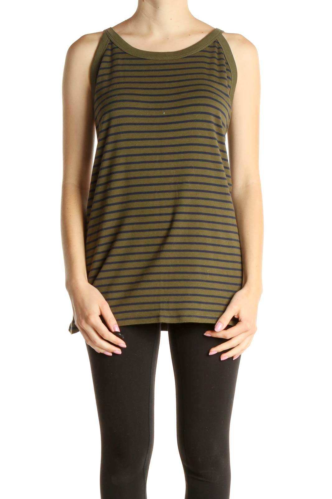 Green Striped Casual Tank Top Front