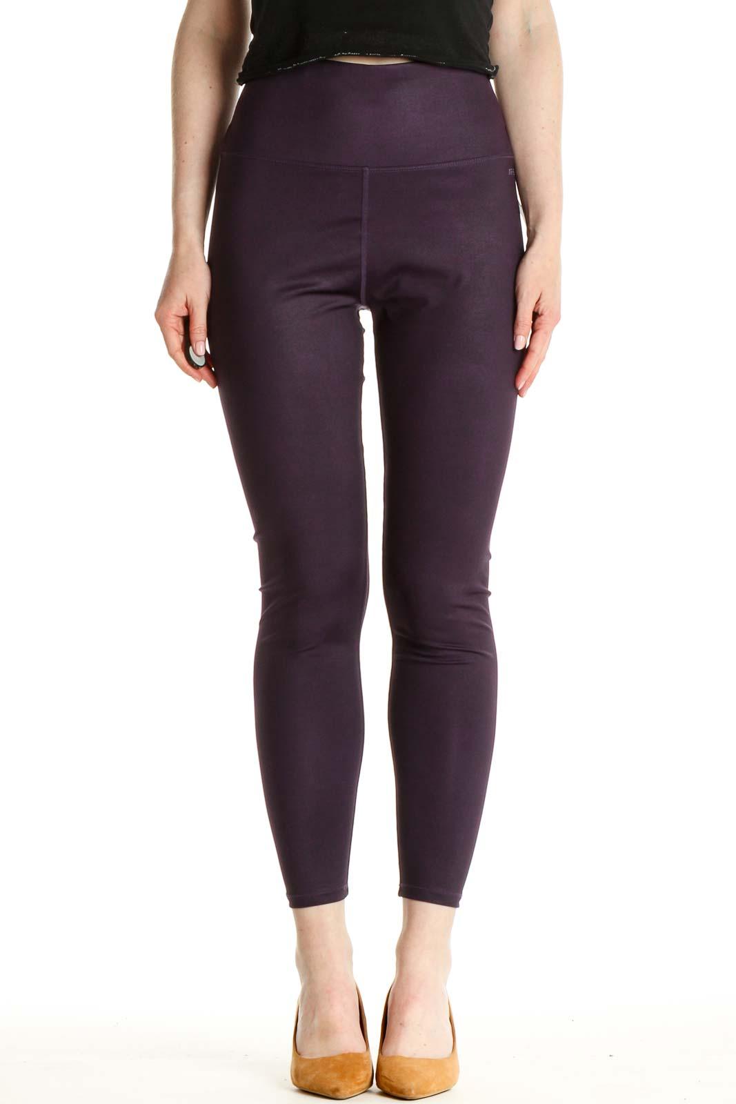 Purple Solid Activewear Leggings Front