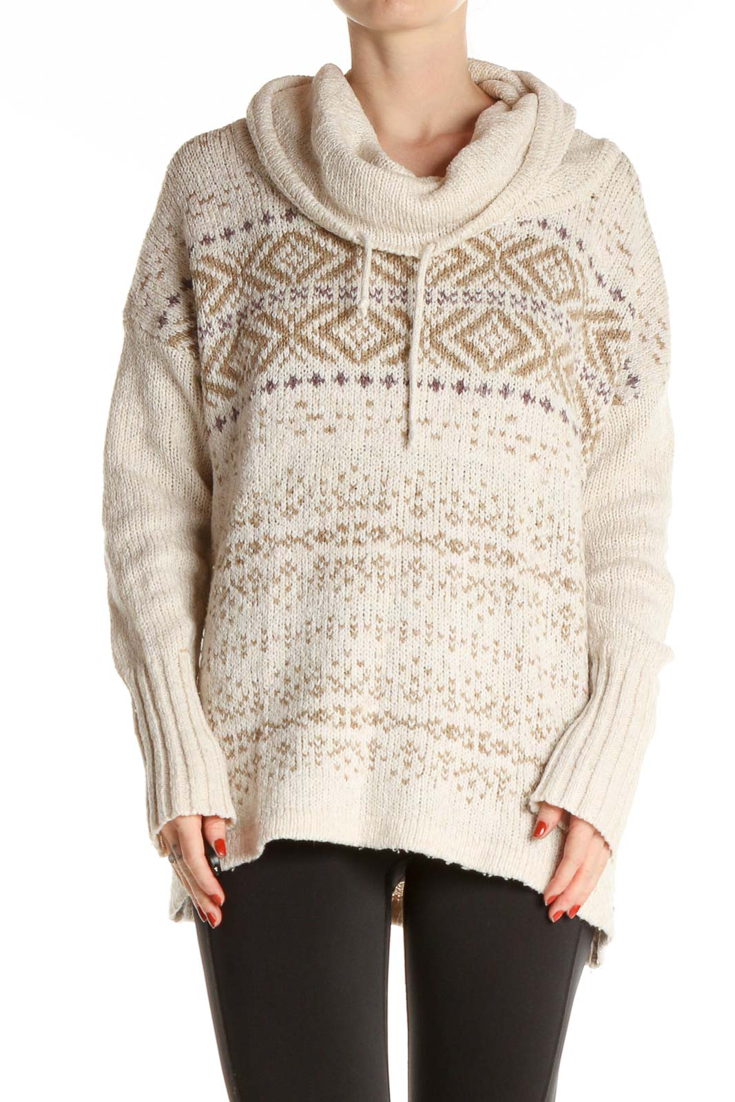 White Textured All Day Wear Sweater Front