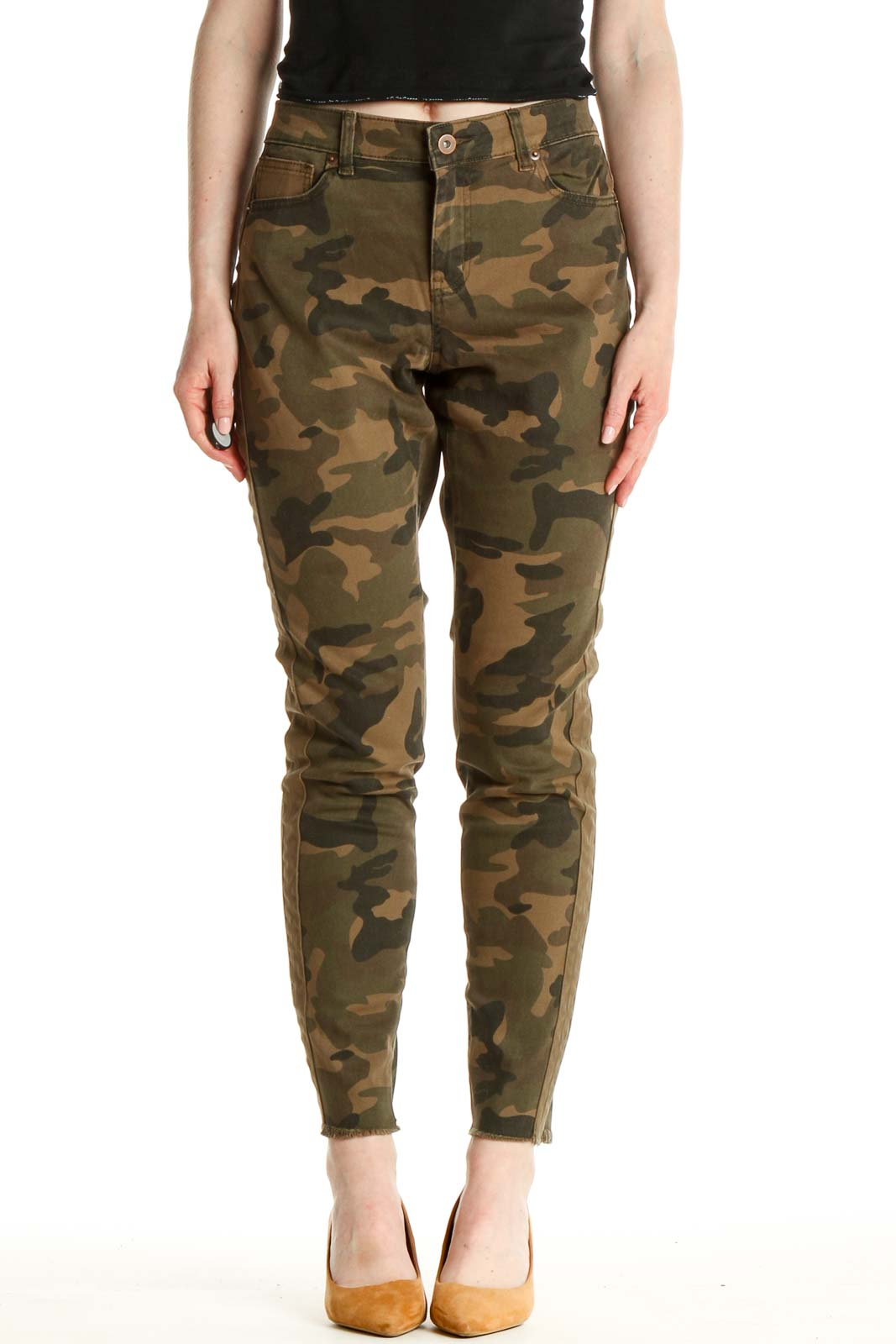 Brown Camouflage Print All Day Wear Cargos Pants Front