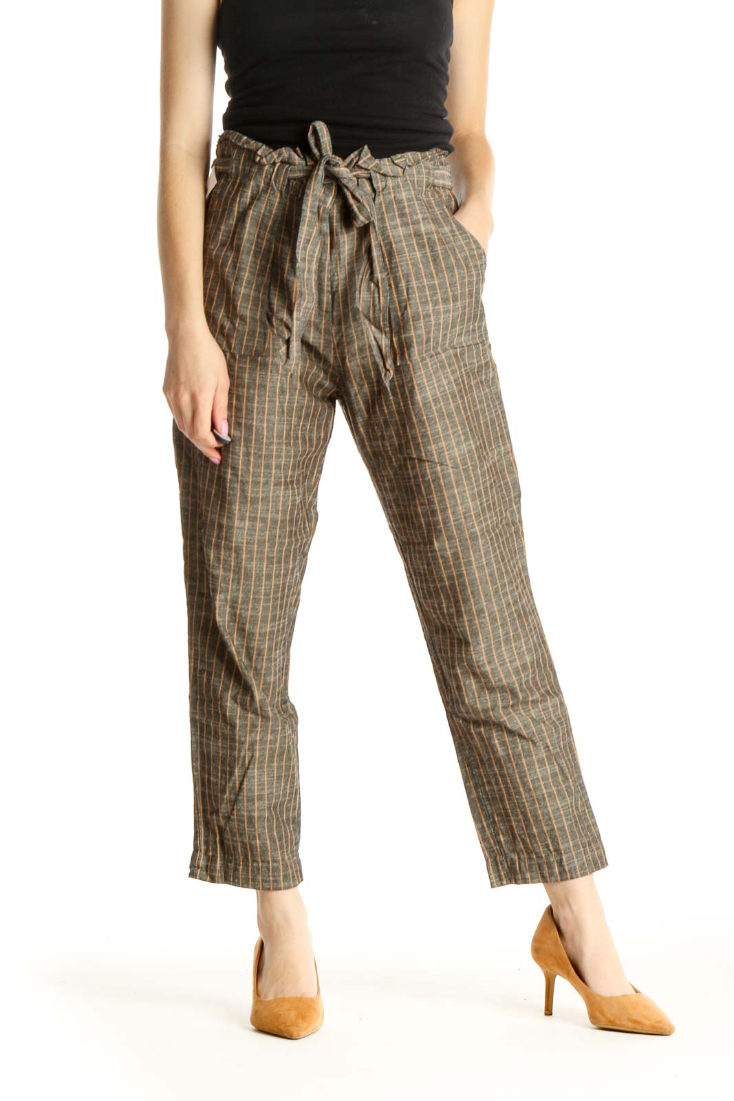Brown Striped All Day Wear Trousers Front