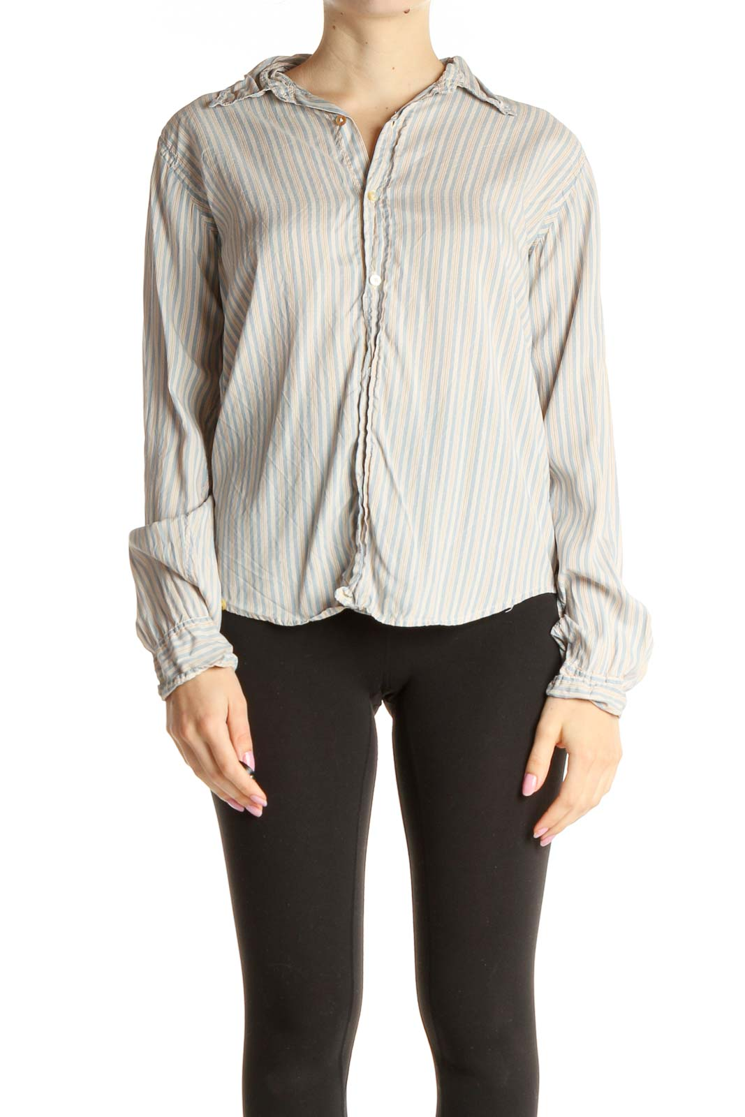 Beige Striped Work Blouse Front