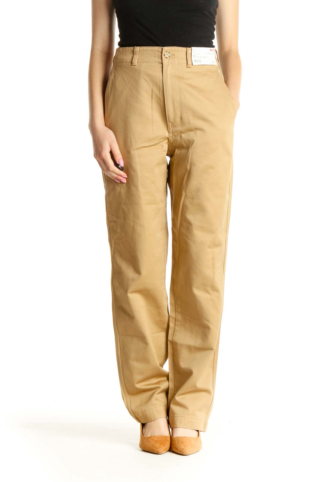 Beige All Day Wear High Waisted Trousers Front