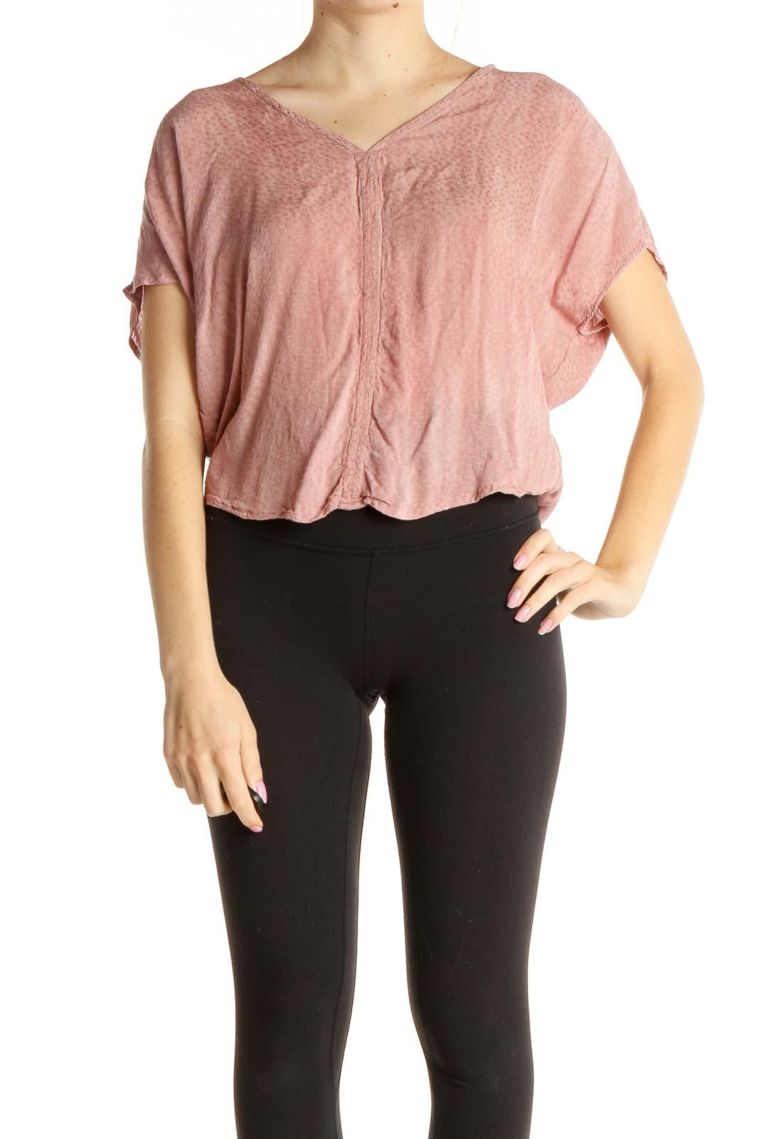Pink Textured Crop Top Front
