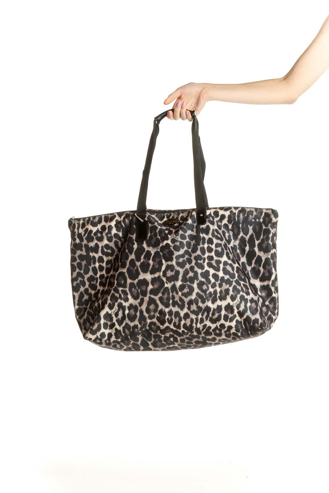 Black Cheetah Print Tote Bag Front