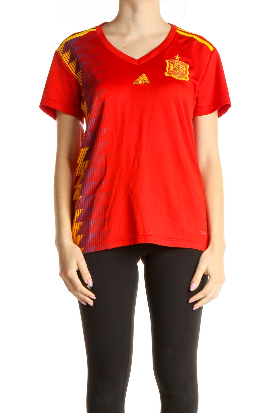 Red Printed Activewear T-Shirt Front