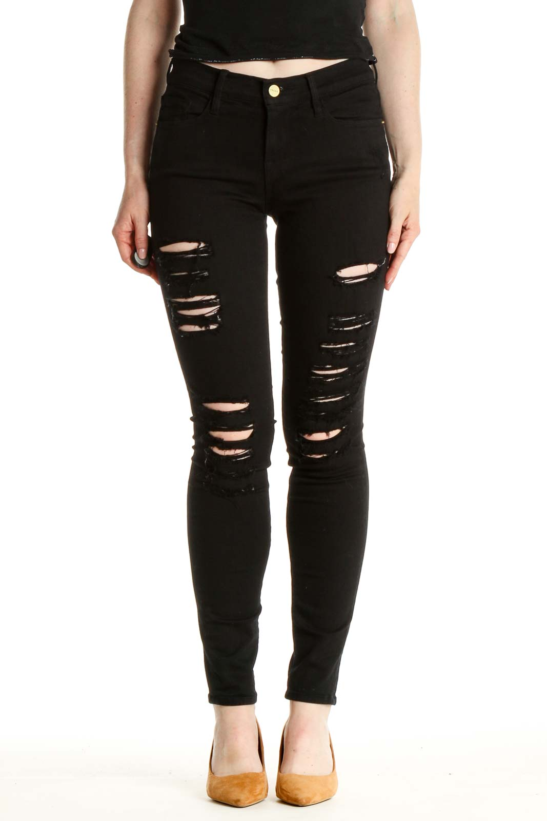 Black Distressed Skinny Jeans Front