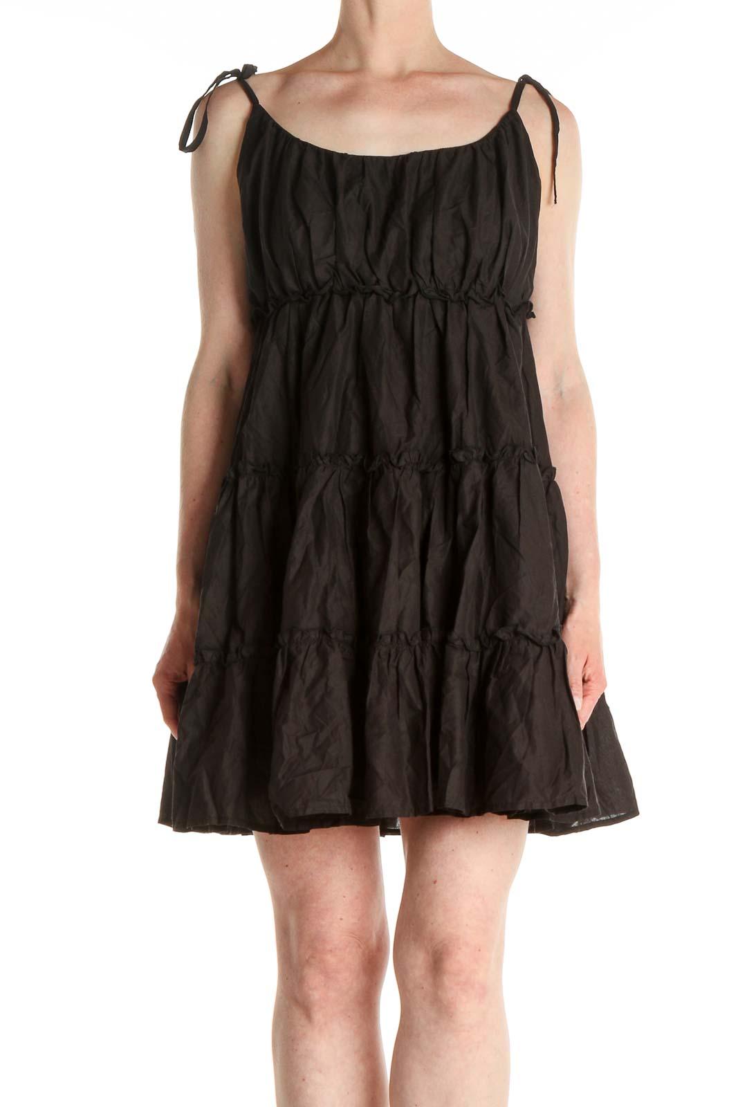 Black Solid Punk Fit & Flare Dress Front