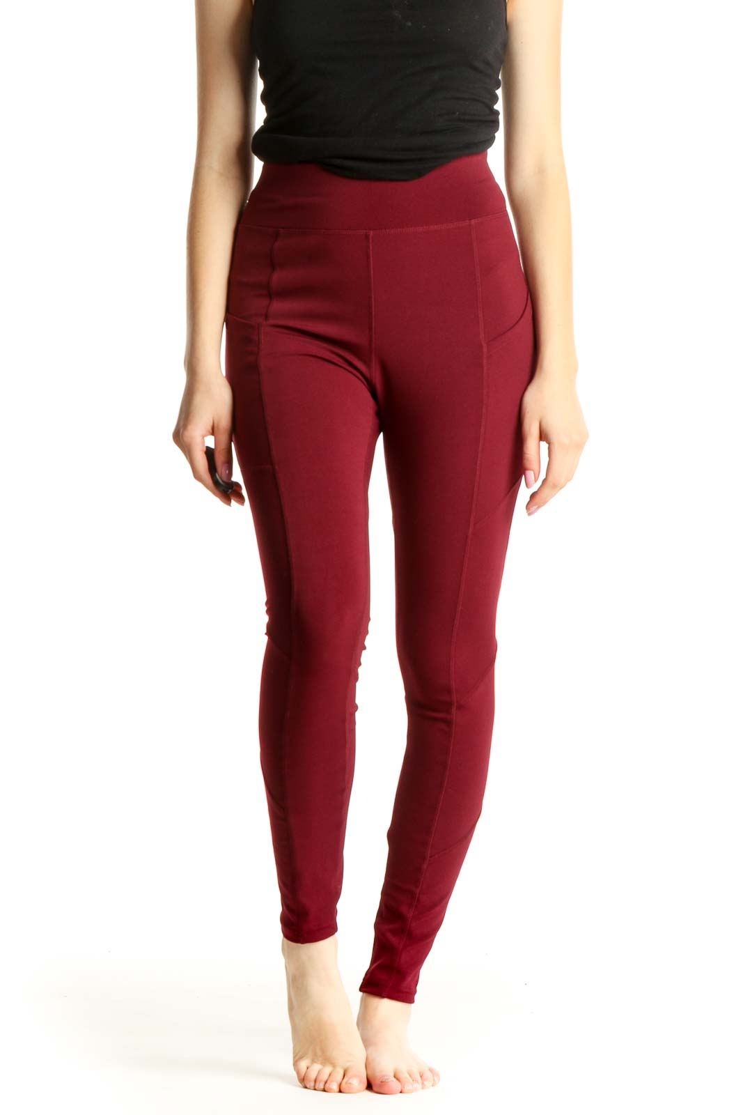Red Solid Activewear Leggings Front
