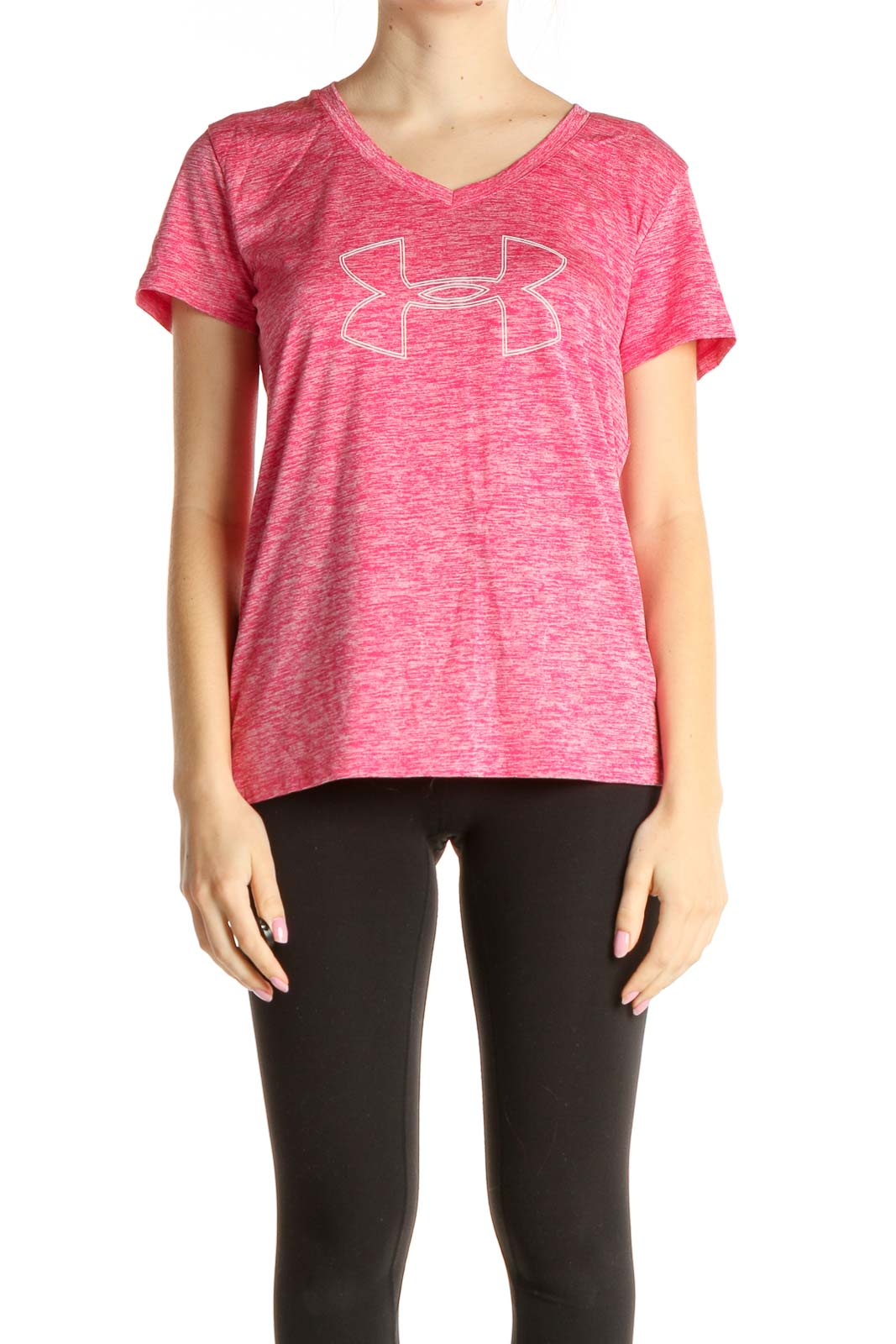 Pink Graphic Print Activewear T-Shirt Front