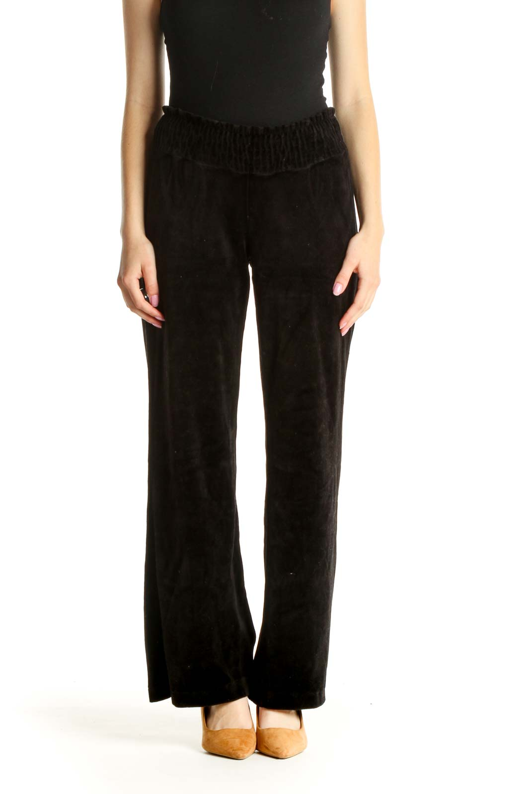 Black Solid All Day Wear Velour Pants Front