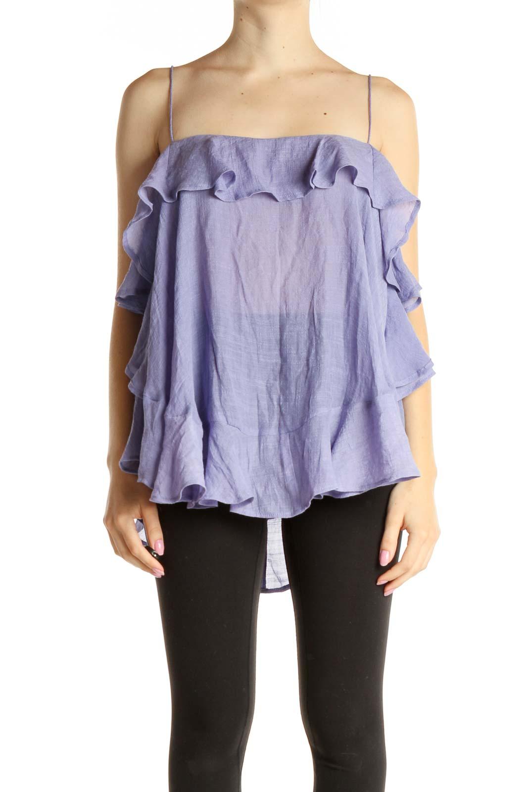 Purple Solid Bohemian Blouse Front
