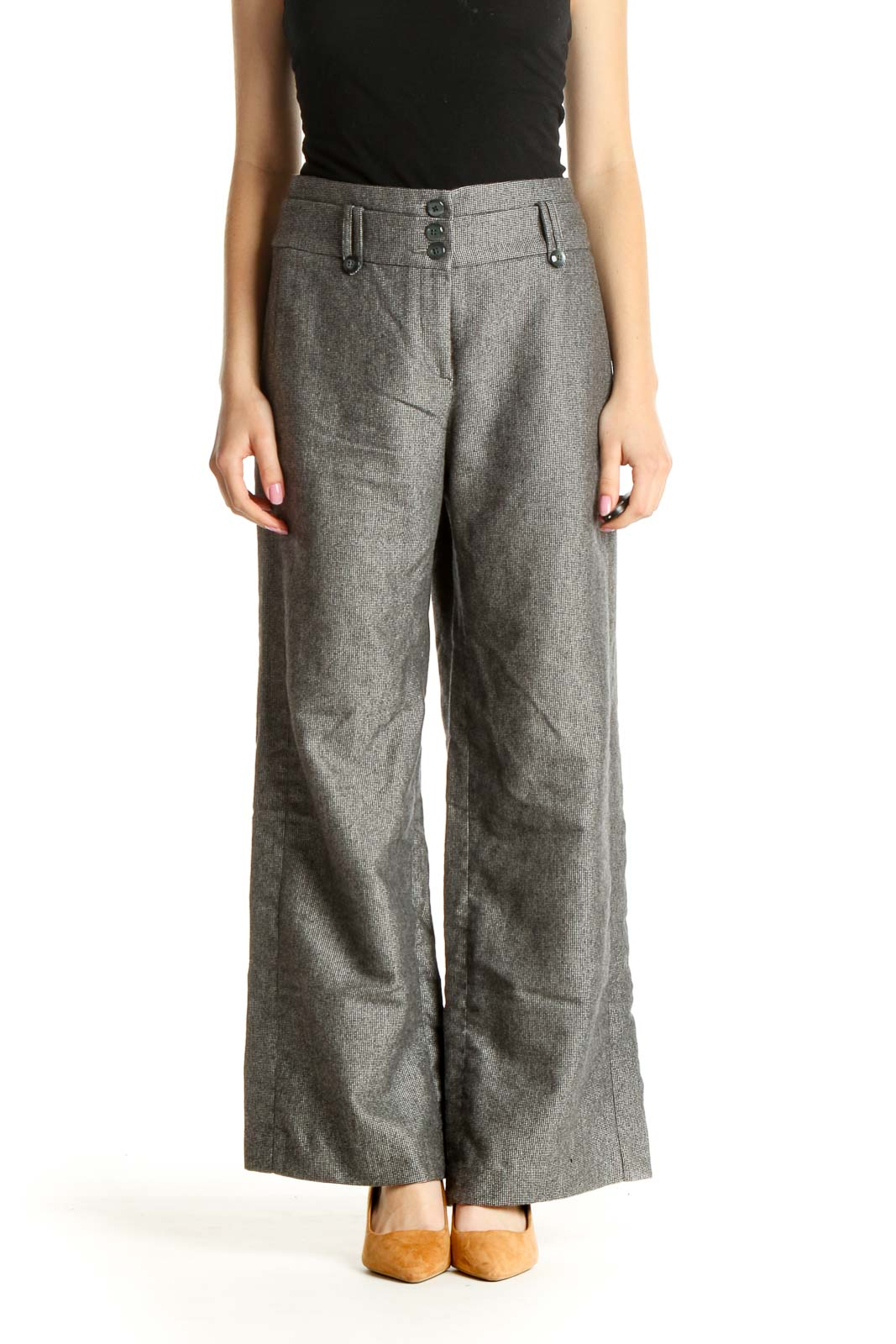 Gray All Day Wear Palazzo Pants Front