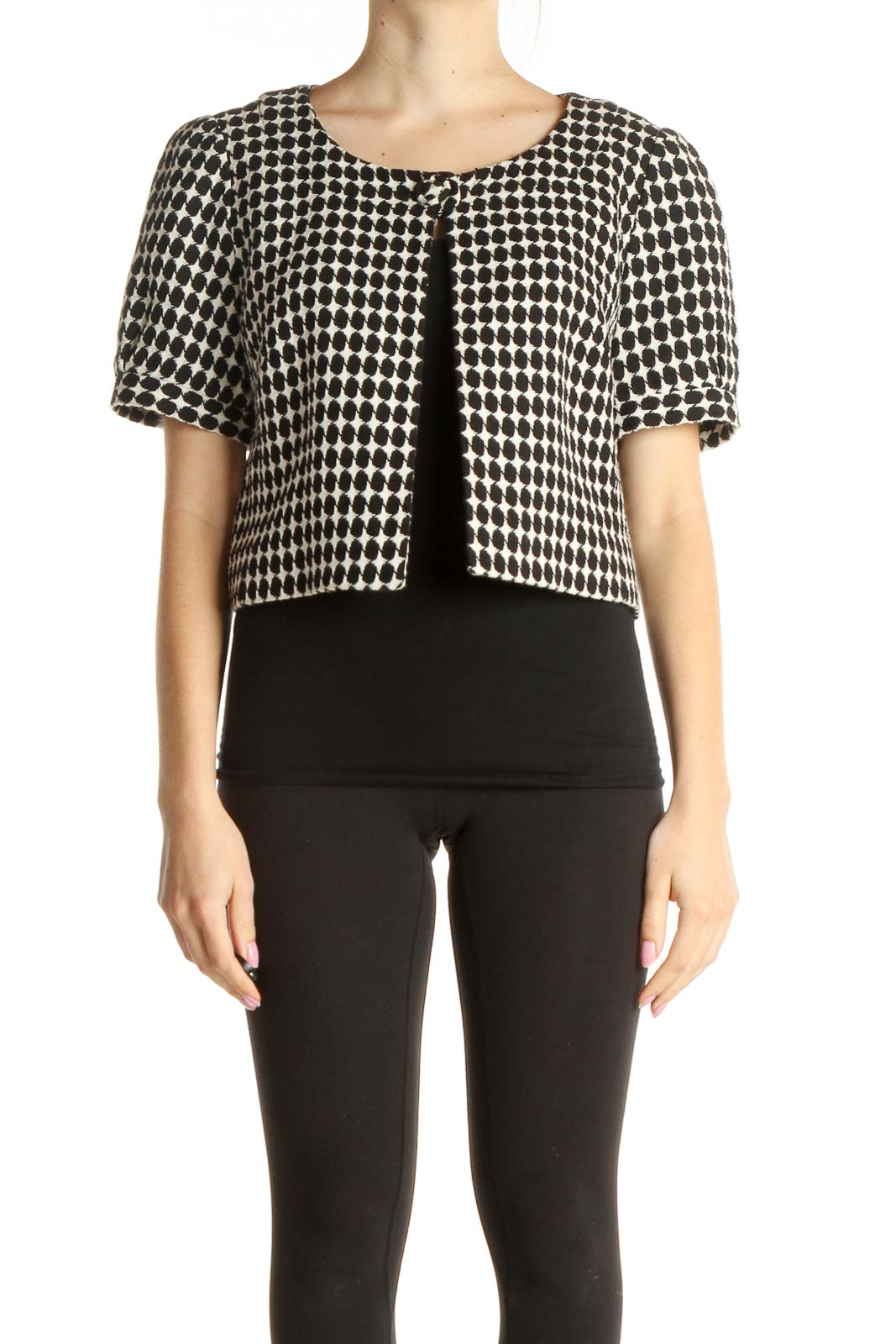 Cropped Houndstooth Jacket Front