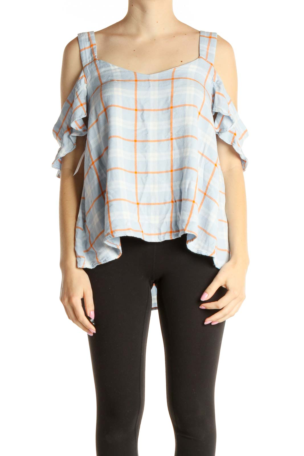 Blue Checkered Bohemian Blouse Front