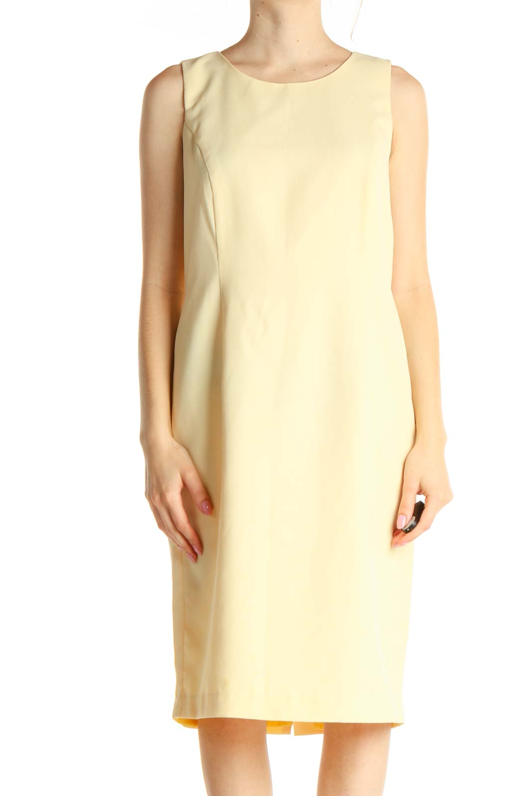 Yellow Solid Classic Sheath Dress Front