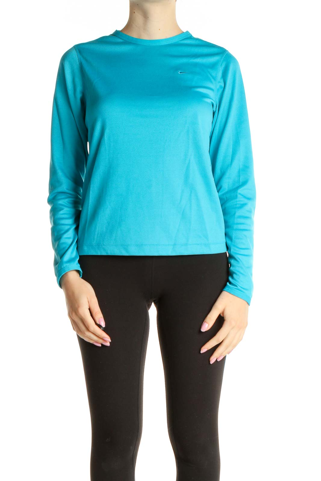Blue Solid Activewear T-Shirt Front