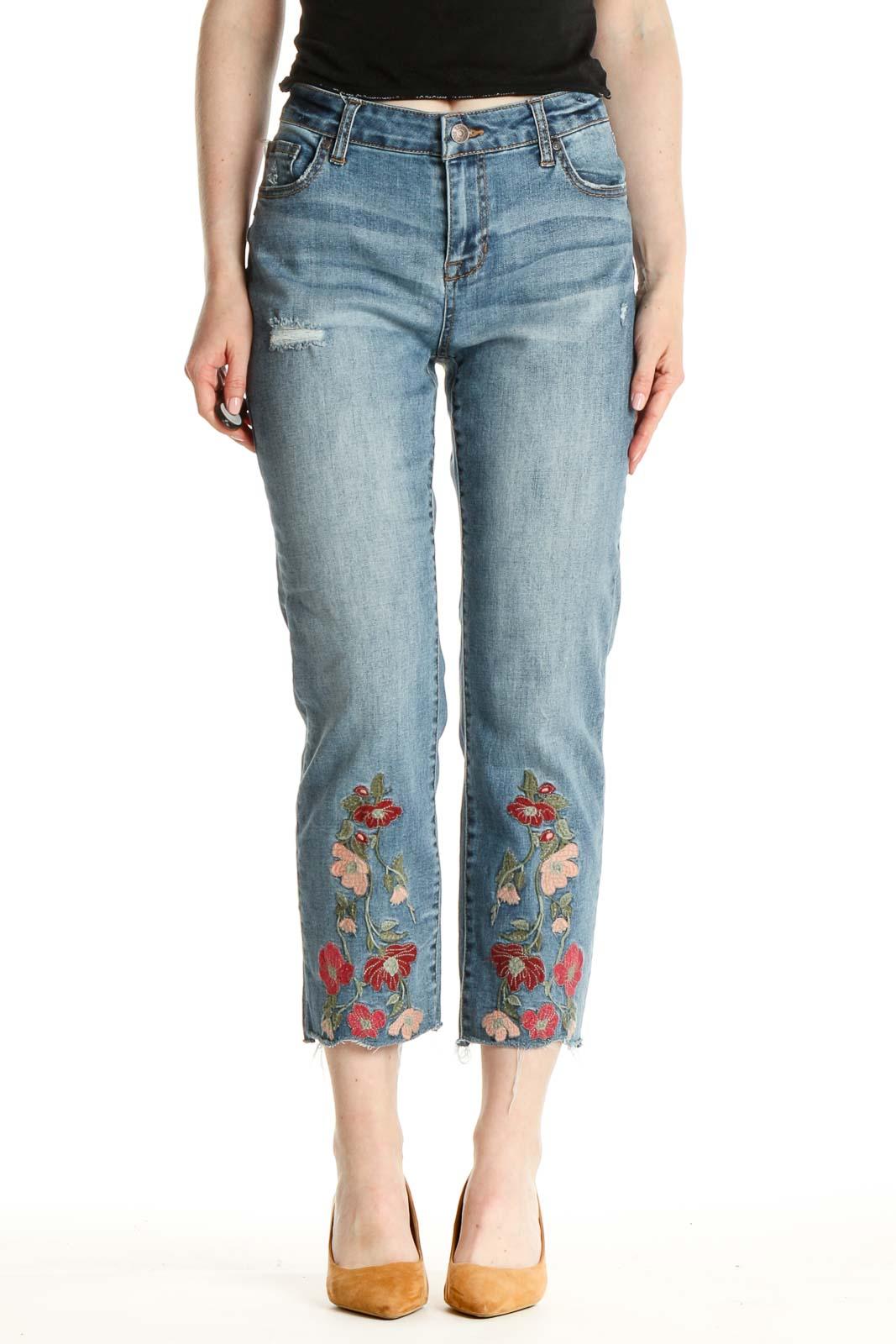 Blue Straight Leg Floral Print Jeans Front
