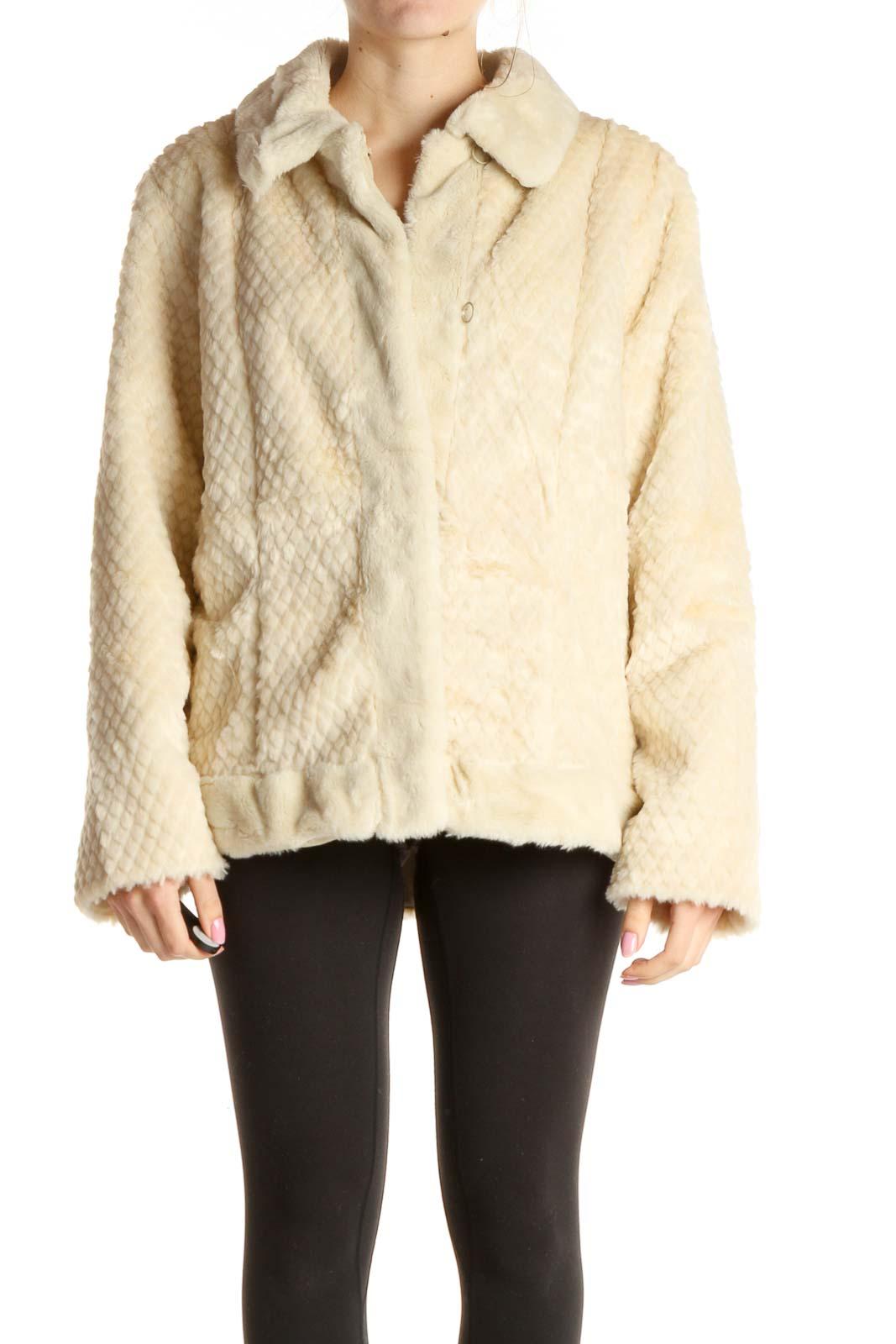 Beige Fur Jacket Front