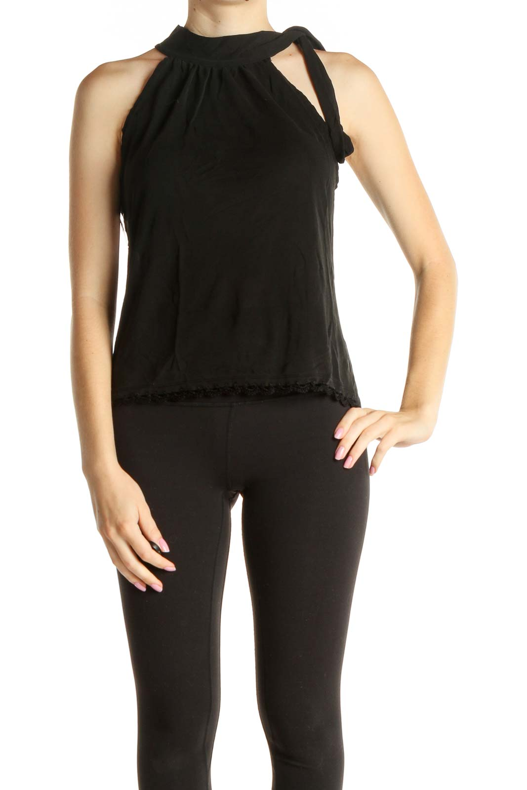 Chic Black Tank Top Front
