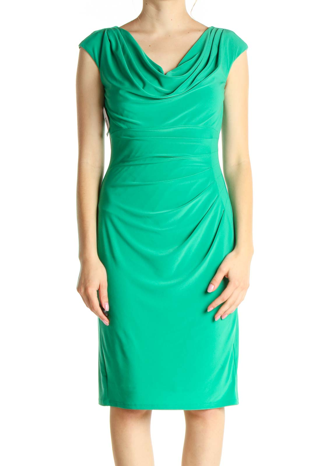 Green Solid Classic Sheath Dress Front