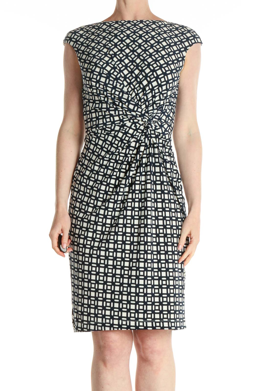 White Printed Classic Sheath Dress Front