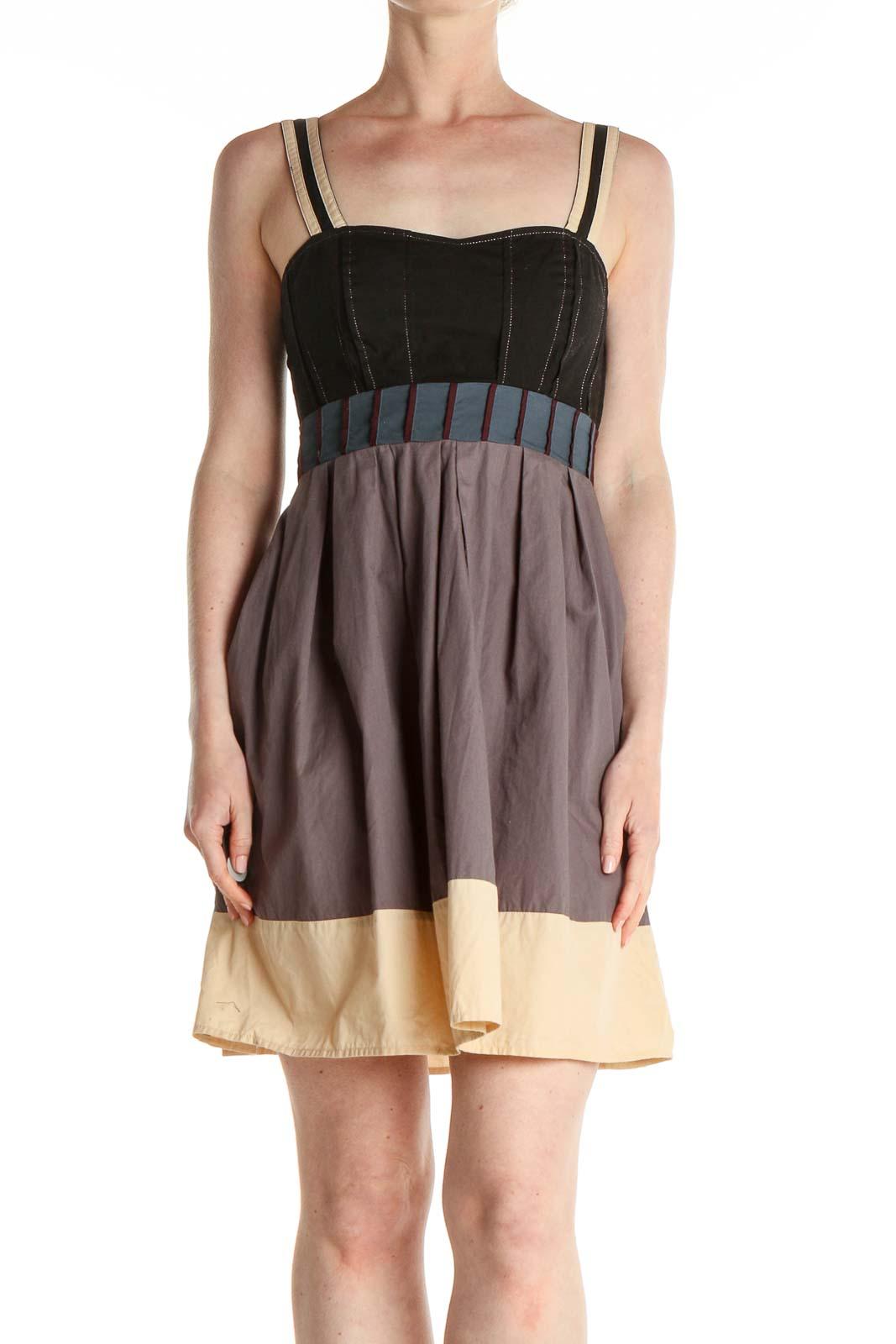 Purple Colorblock Fit & Flare Dress Front