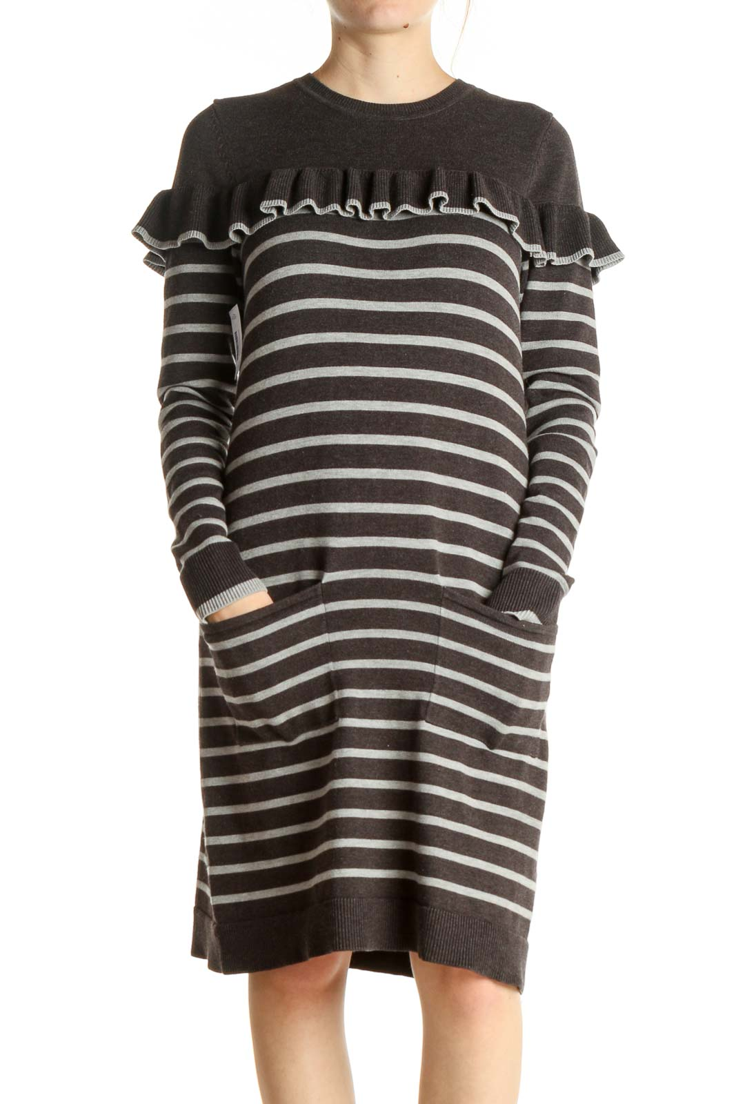 Gray Striped Day Shift Dress Front