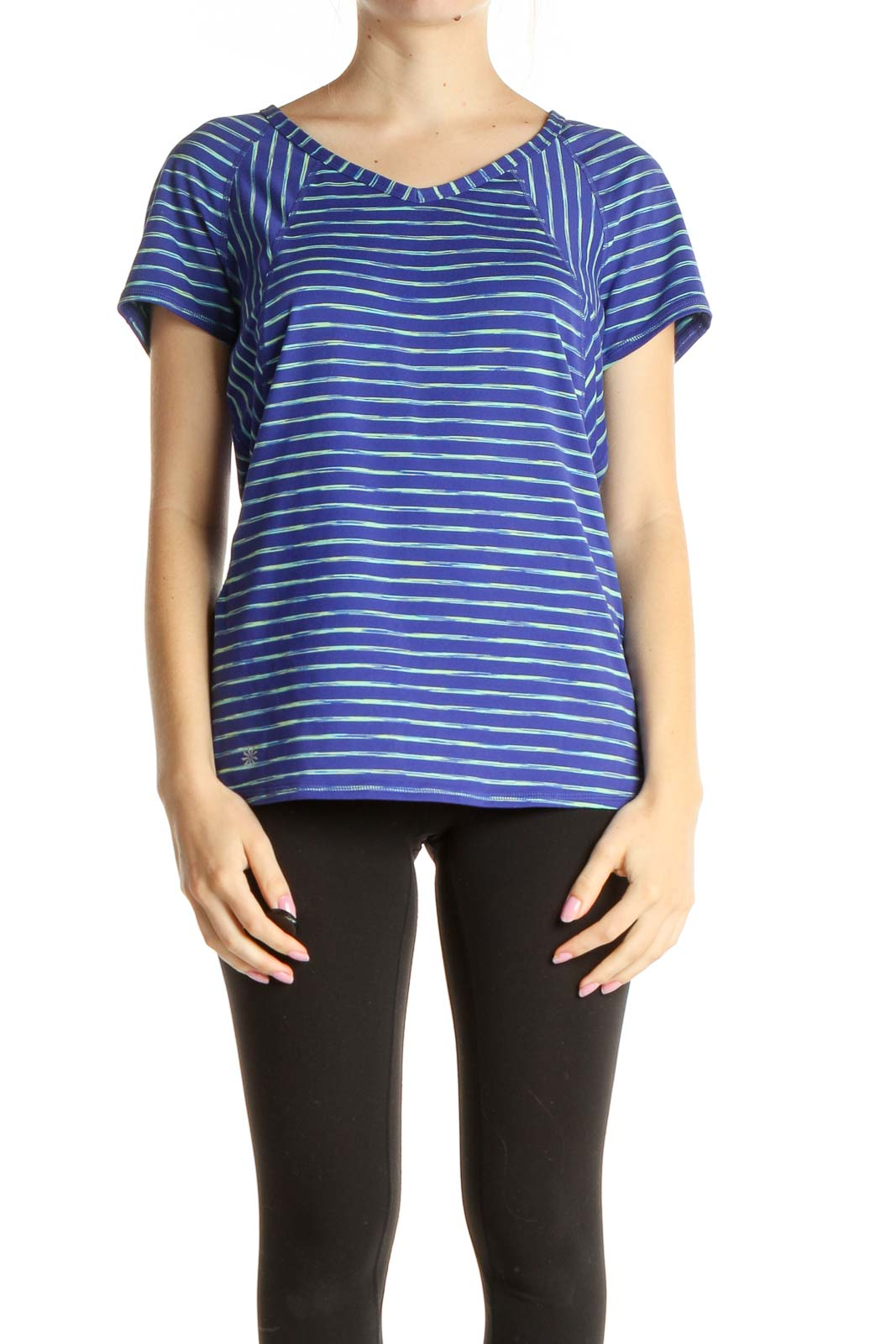 Blue Striped Activewear T-Shirt Front