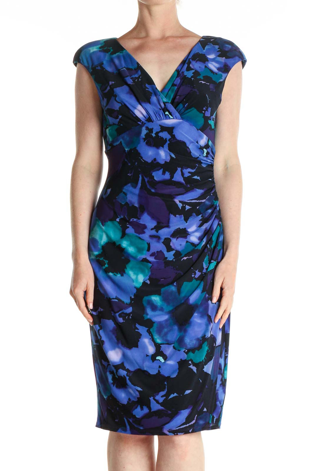 Blue Floral Print Work Sheath Dress Front