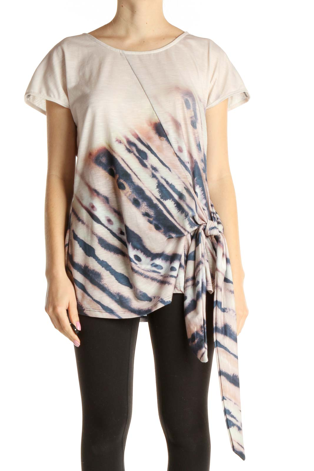 Beige Tie And Dye T-Shirt Front
