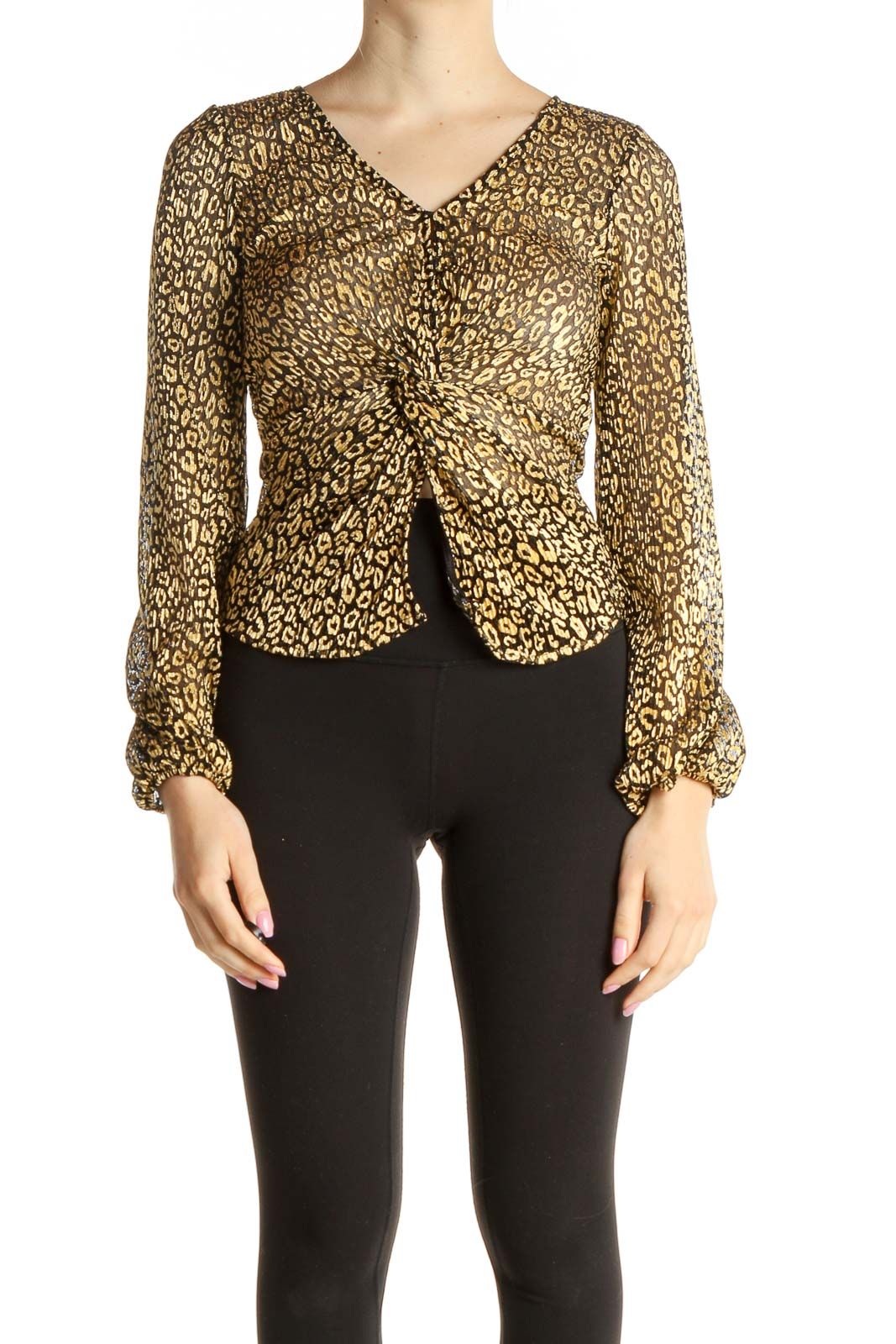 Brown Animal Print All Day Wear Blouse Front