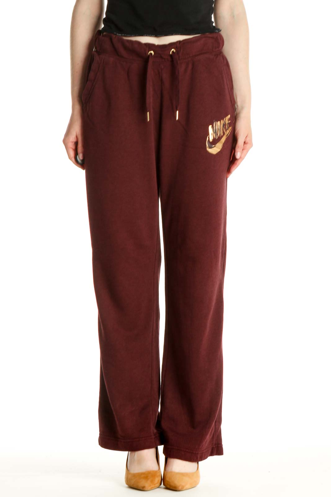 Red Solid Casual Sweatpants Front