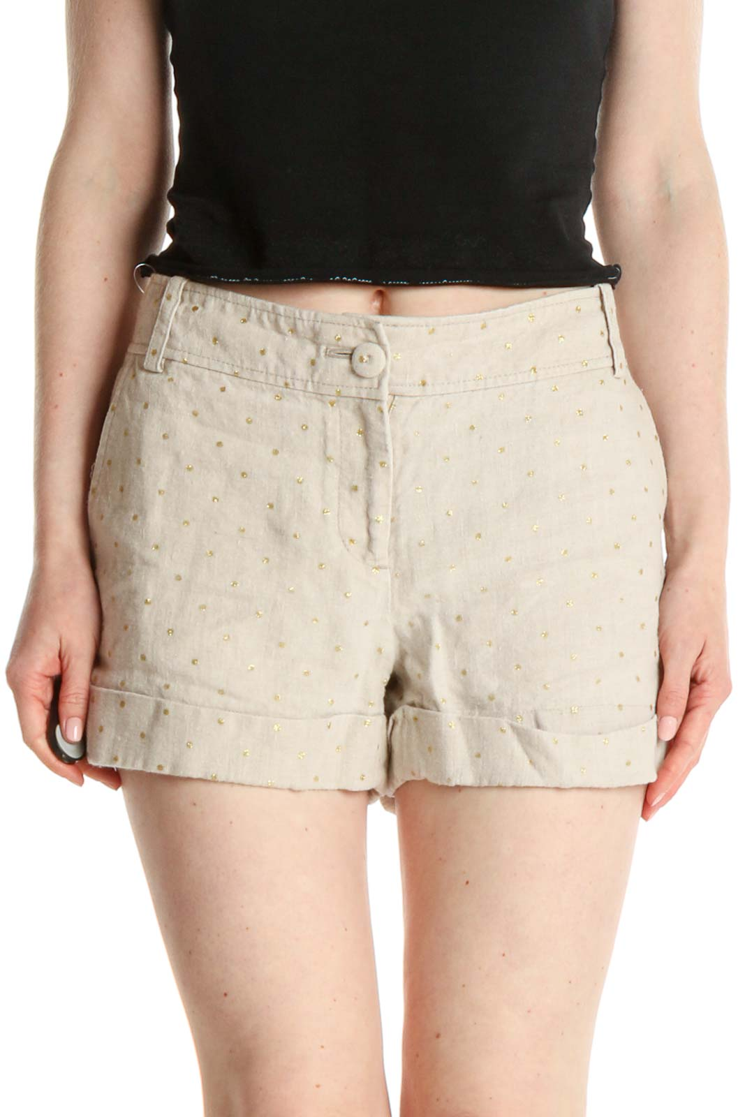 Beige Polka Dot Casual Shorts Front