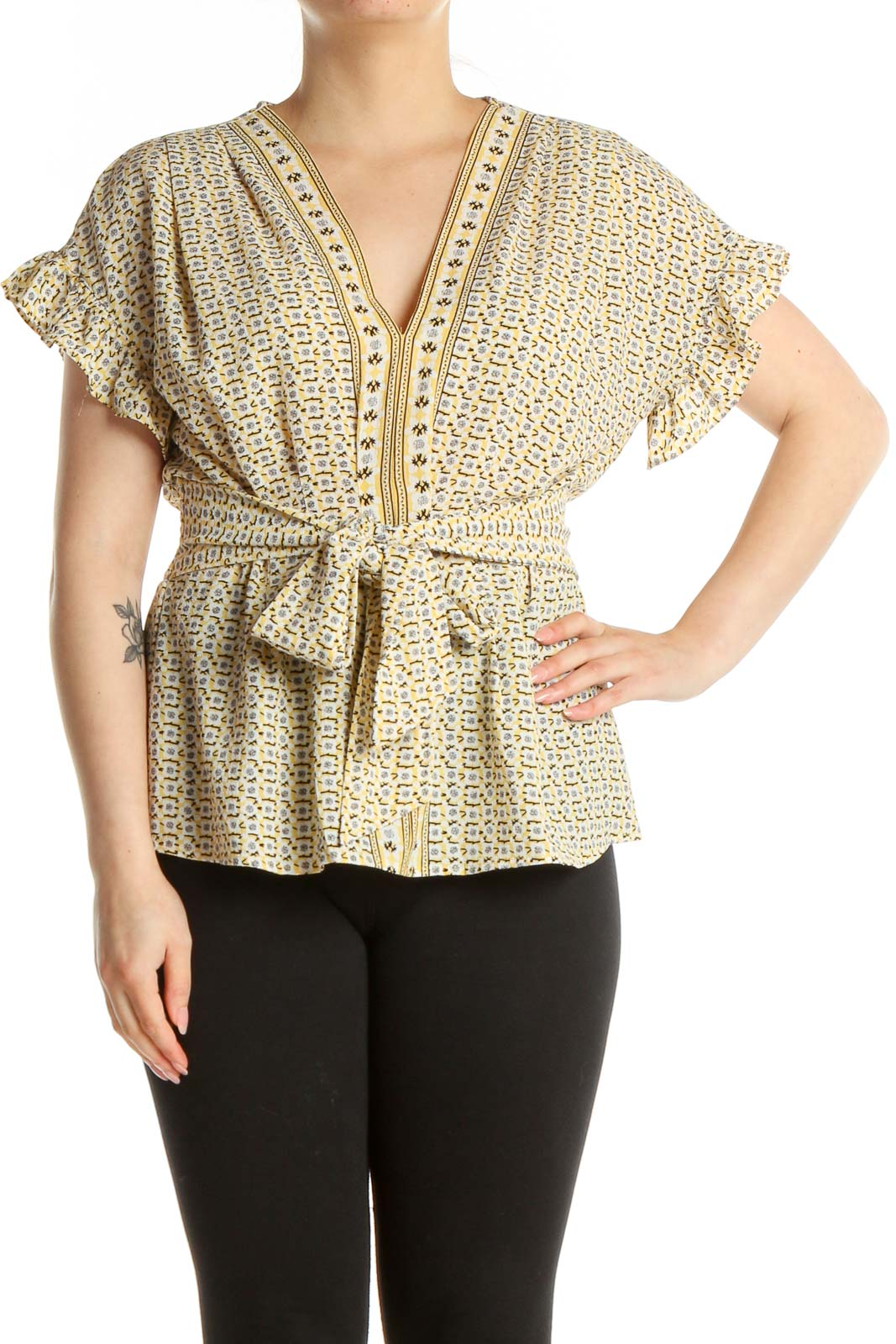 Beige Printed Bohemian Blouse Front