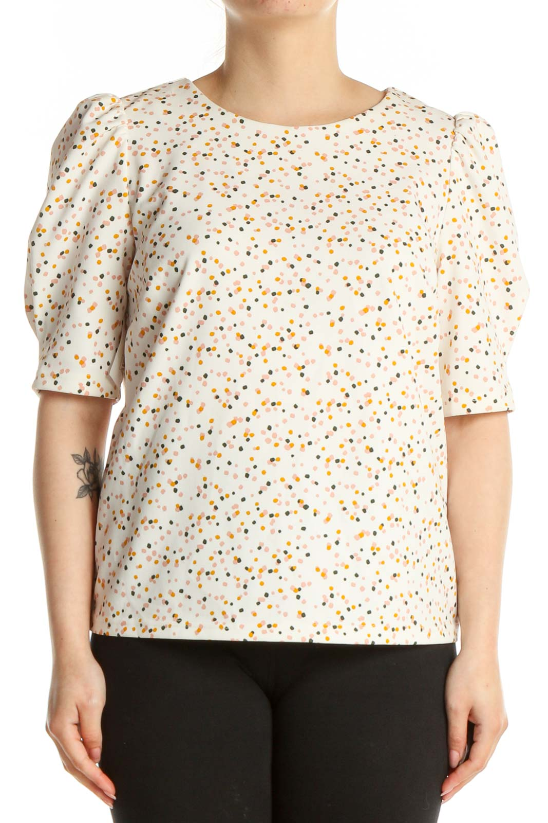 White Polka Dot Casual T-Shirt Front