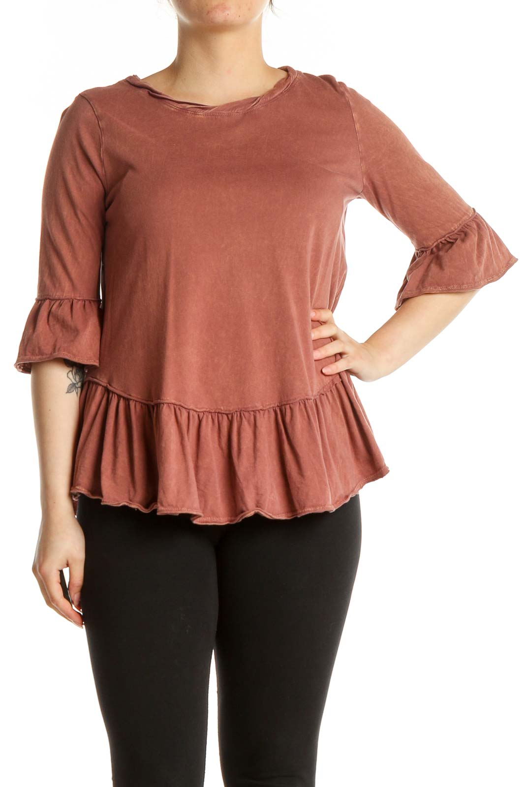 Brown Solid Bohemian Blouse Front
